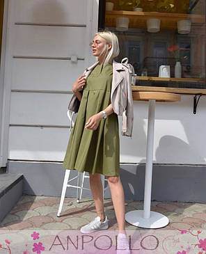 Платье сарафан летнее свободное без рукава хлопок ХАКИ 42-46, фото 2