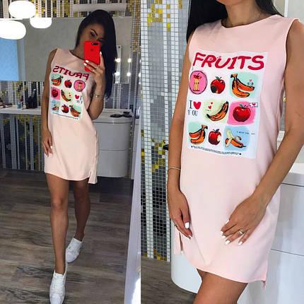 Стильное летнее платье сарафан с нашивкой 42-44, фото 2
