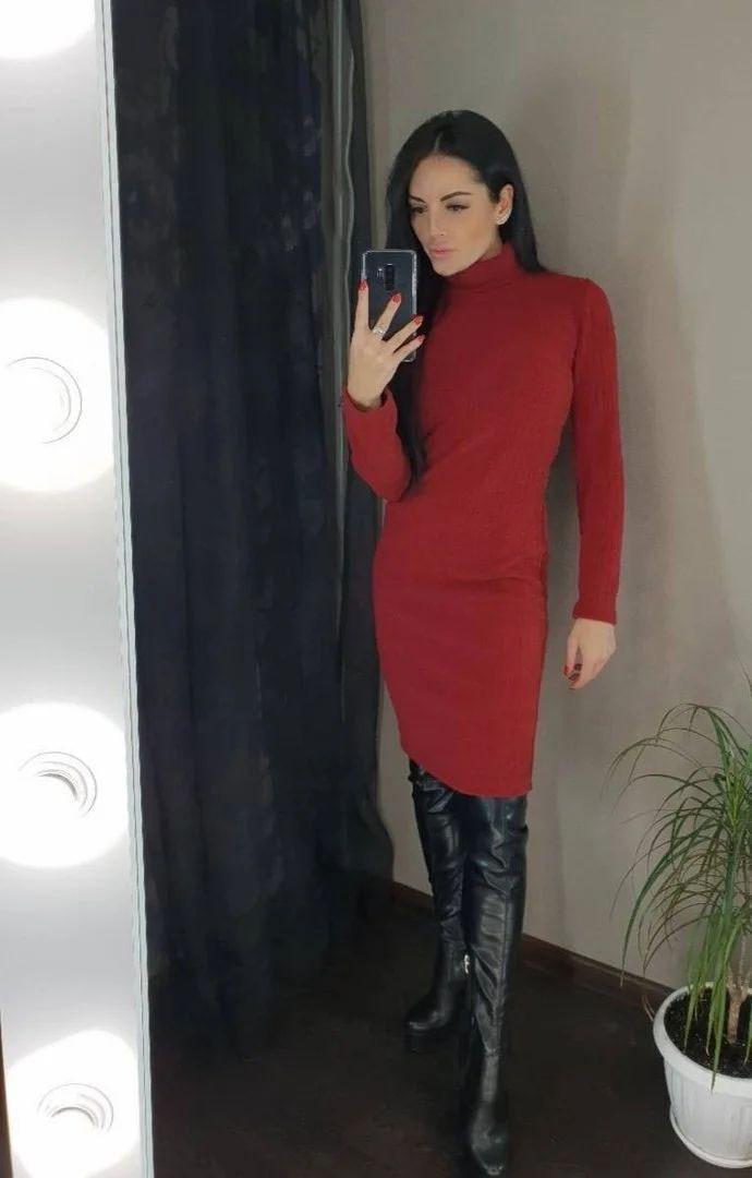 Платье гольф ниже колена с длинным рукавом БОРДО 42-46