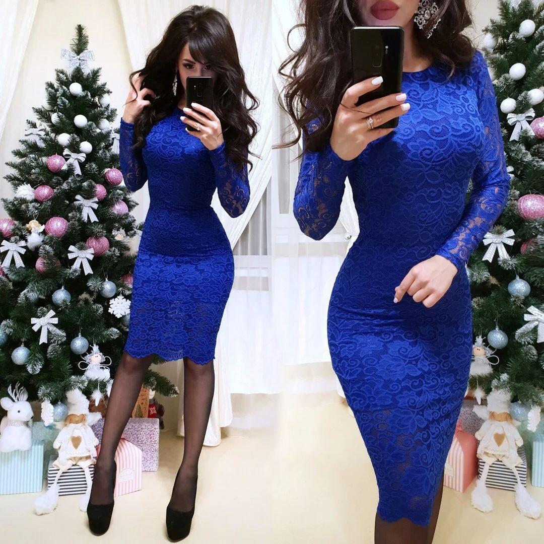 Очень красивое платье с кружевом СИНИЙ 42