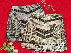 Нарядна спідниця міні з паєтками ЗОЛОТА 42-46, фото 2