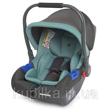 Бебикокон, кресло для авто с ручкой для переноски El Camino Newborn ME 1043 Royal Mint, группа 0+, цвет мятный