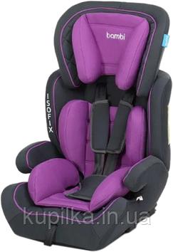 Детское автокресло с бустером для детей Bambi M 4250 (9-36 кг) с системой ISOFIX Фиолетовый