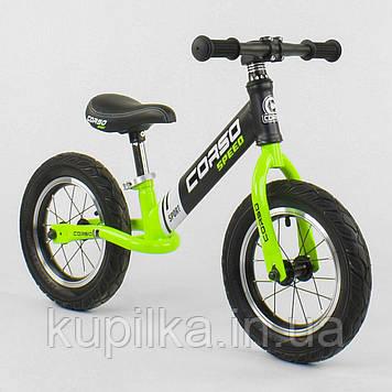 Беговел-велобег с резиновыми колесами и стальной рамой Corso 64207, колесо 12 дюймов, салатовый