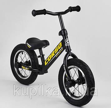 """Детский велобег """"CORSO"""" 73975 с большими колёсами и прочной рамой, для детей весом до 30 кг, желтый"""