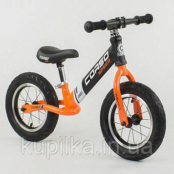 """Велобег с надувными колесами Corso 24846 со стальной рамой, колеса 12"""", оранжевый"""