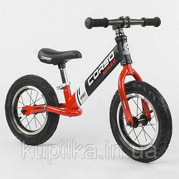 """Легкий велобег (беговел) с надувными колесами Corso 83712 со стальной рамой, колесо 12"""", красный"""
