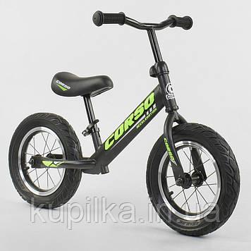 """Велобег-беговел с надувными колесами Corso 36906, стальная рама, колесо 12"""", черный"""