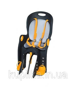 Детское велосипедное кресло с матрасиком и ремнями безопасности TILLY Maxi T-831/1 NAVY, до 22 кг, желтое