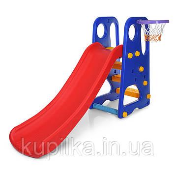 Детская горка для дома и улицы с баскетбольным кольцом, мячом и насосом Bambi YG2016-16-1 (высота 103 см)