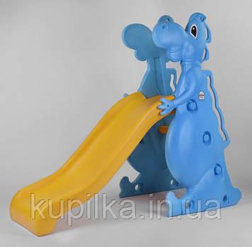 """Разборная горка Голубой Динозавр для детской площадки, торговых центров, дома Pilsan """"Dino slide"""" 06-198"""