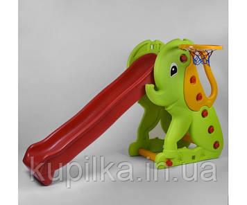 Детская пластиковая горка Зеленый Слоник для улицы или дома с бортами безопасности Pilsan Elephant 06-160