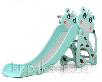 """Детская горка для малышей Бирюзовый Жираф, с бортиком, лесенкой, кольцом D - 10188 """"Toti"""" (высота 105 см)"""