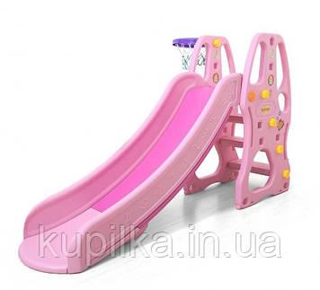 """Розовая горка для малышей с баскетбольным кольцом, лесенкой и бортами C - 23056 """"Toti"""" (высота 104 см)"""
