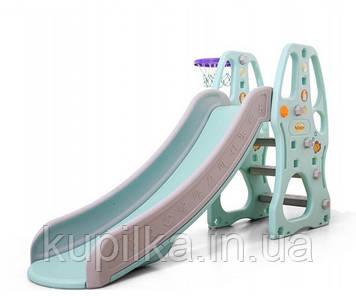 """Детская горка для малышей с баскетбольным кольцом и бортами безопасности C - 12404 """"Toti"""" (высота 104 см)"""