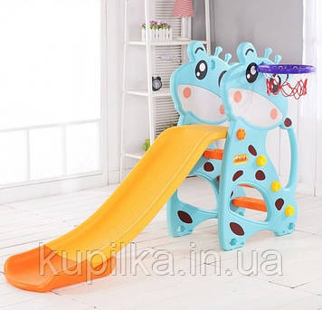 """Игровая горка Голубой Жираф с баскетбольным кольцом для дома, дачи, улицы - 67802 """"Toti"""" (высота 102 см)"""