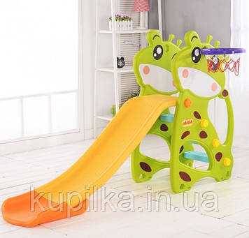 """Пластиковая горка Зеленый Жираф с баскетбольным кольцом для детей от 2 до 7 лет F - 78733 """"Toti"""" высота 102 см"""