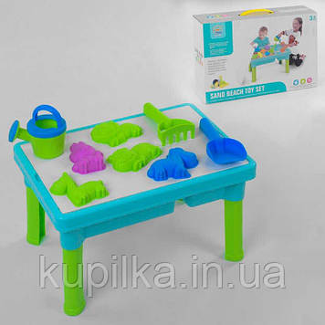 Раскладной, пластиковый столик-песочница для игры с песком и водой, в комплекте идут аксессуары R 399-6