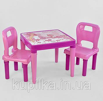Стол с двумя стульчиками пластиковые для детей 03-414 , цвет розовый