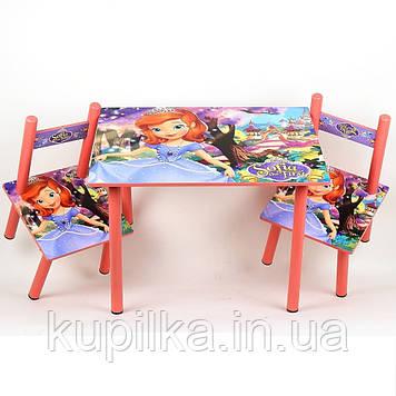 Набор детской деревянной мебели столик и 2 стульчика для девочки Принцесса София