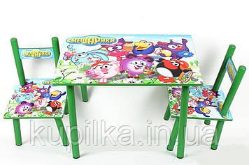 Мультяшный деревянный Столик с двумя стульчиками в комплекте для малышей, Смешарики