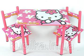 Детская деревянная мебель с героем мультфильма Hello Kitty Столик и 2 стульчика
