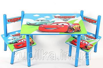 """Столик и два стульчика из дерева для малыша с мультяшными героями """"Тачки"""""""