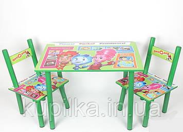 Детский столик со стульчиками с героями из мультфильма Фиксики, деревянный, крашенный