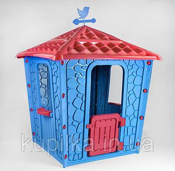 Пластиковый игровой домик для детской площадки или дома Pilsan Stone 06-437, цвет голубой с красным