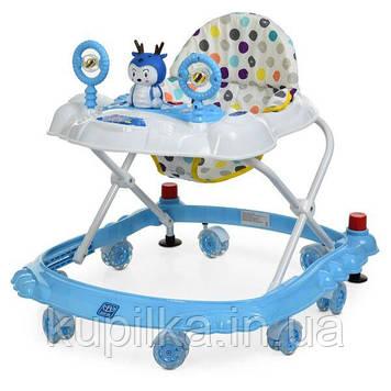 Детские ходунки каталка с музыкальной панелью для ребенка «Bambi» M 3168 силиконовые колеса Голубой