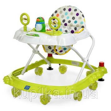 Ходунки каталка с игровой панелью для ребенка «Bambi» M 3168 Силиконовые колеса Салатовый