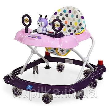 Ходунки каталка с игровой панелью и силиконовыми колесами для девочки «Bambi» M 3168 Фиолетовый с розовым