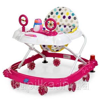 Детские ходунки каталка с силиконовыми колесами для девочки «Bambi» M 3168 Розовый