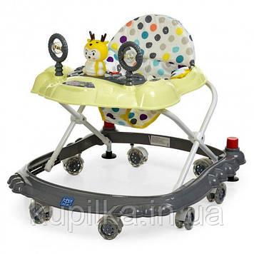 Детские ходунки с игровой панелью, силиконовыми колесами, регулируются по высоте «Bambi» M 3168 Серый с желтым