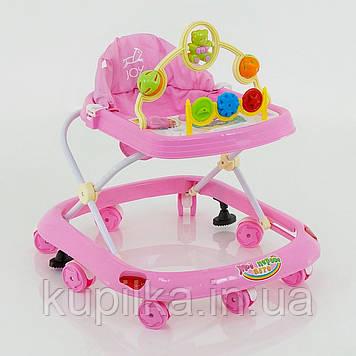 Музыкальные ходунки для малыша с игровой панелью, мягким сиденьем и тормозом 258, розовые