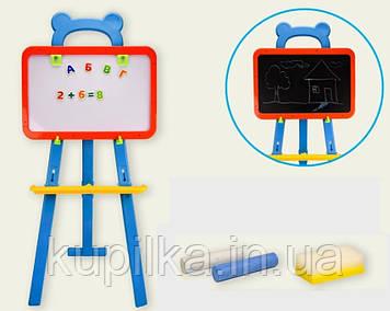 Разборной мольберт детский с магнитными буквами (русские, украинские, английские), цифрами и мелом PL-0703 URE