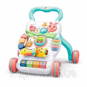 Музыкальная каталка-ходунки с большим игровым центром для детей с 9-ти месяцев, работает от батареек A2018-7