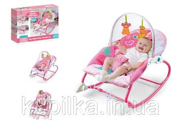 Шезлонг качалка для детей с рождения и до 18 кг, с подвесными игрушками и вибрацией A-Toys 8165, цвет розовый