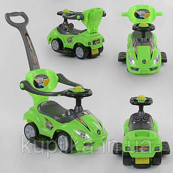 Машина-толокар с родительской ручкой JOY 2027-G Зеленый, 5 мелодий, съемный защитный бампер, багажник