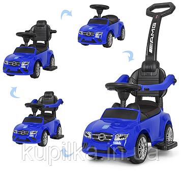 Детская машинка каталка-толокар Mercedes-AMG Bambi M 3902L-4 с толкателем родительской ручкой Синий
