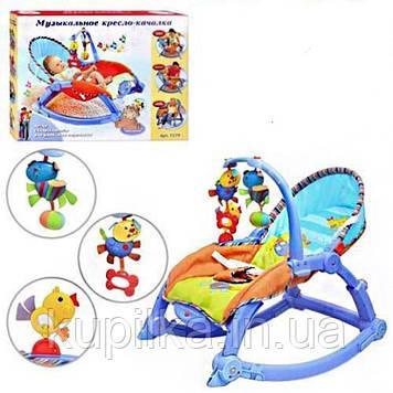 Детский музыкальный шезлонг-качалка с вибрацией 3 в 1 Joy Toy 7179