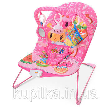 Шезлонг качалка с виброблоком и встроенной мелодией для ребенка с рождения 303-8, цвет розовый