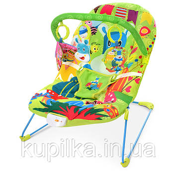 Детская шезлонг-качалка с подвесками, музыкой и вибрацией для ребенка с рождения 303-5, цвет зеленый