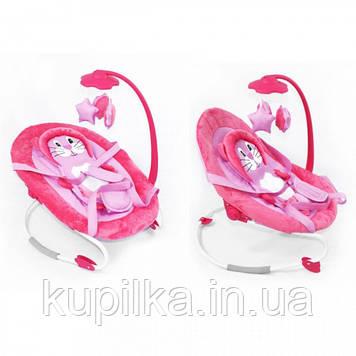 Детская качалка шезлонг для малыша BT-BB-0002 PINK с ремнями для переноски и съемным мобилем, розовый