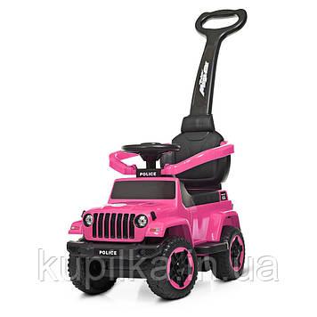 Каталка толокар для девочек с магнитофоном и световыми эффектами Jeep Wrangler Bambi M 4288-8, розовый