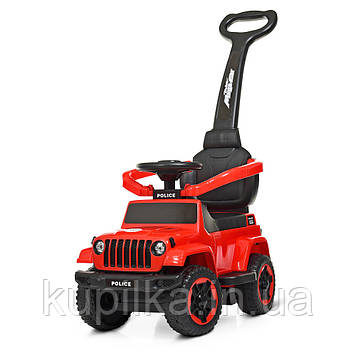 Каталка-толокар с магнитолой, родительской ручкой и защитным бампером Jeep Wrangler M 4288-3, Красный