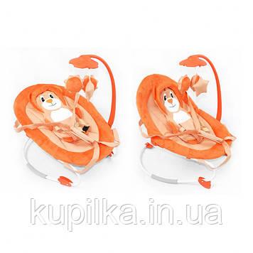 Детский шезлонг качалка для малыша BT-BB-0002 ORANGE с регулировкой спинки и музыкальным мобилем, оранжевый