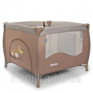 Игровой манеж-кроватка для детей с рождения с кольцами El Camino ME 1030 ARENA Sand Len, цвет бежевый лен