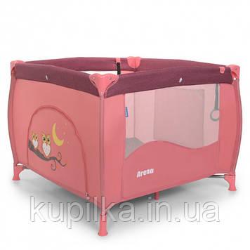 Манеж для малышей с дверцей на змейке, кольцами и кармашком El Camino ME 1030 ARENA Rose Len, Розовый лен