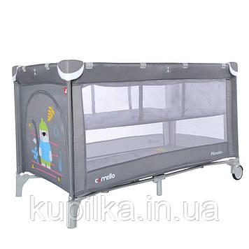 Детский манеж-кровать CARRELLO Piccolo+ CRL-9201/2 Ash Grey для играющего малыша со вторым дном